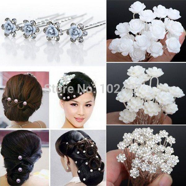 Wholesale 20PCS Wedding Bridal Pearl Hair Pins Flower Crystal Hair Clips Bridesmaid 5 Styles U Pick Free Shipping(China (Mainland))