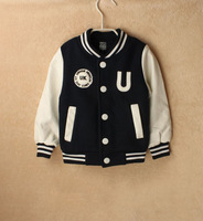Children boys outdoor sports jackets High quality Kids outerwear baseball jacket boys clothing U letter printed suits FJ-1565