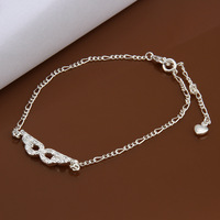 Free shipping!New Fashion 925 Sterling Silver Charm Anklet For Women Qulity Couples Jewelry Gift CA004