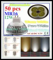 FedEX Free shipping 50 pcs Dimmable CREE MR16 12W 9W AC&DC12V high power Led spotlight Downlight bulb lamp LED light lighting