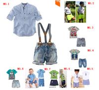 BCS058 free shipping top quality boy clothing set  children summer casual clothes kids cotton t-shirts+pants 2pcs suit retail