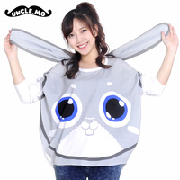 Rabbit print long ears pie t-shirt o-neck loose female long-sleeve