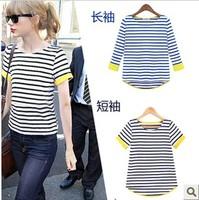 Free shipping 2013 spring summer stripe basic shirt short-sleeve knitted t-shirt o neck fashion t-shirts women's patchwork shirt