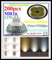 FedEX Free shipping 200 pcs Dimmable CREE MR16 12W 9W AC&DC12V high power Led spotlight Downlight bulb lamp LED light lighting