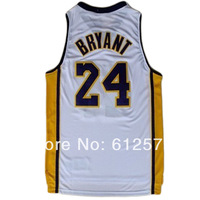 Free Shipping 24 Bryant White color men Sleeveless  Basketball jerseys made of Lycra and Spandex Basketball jersey