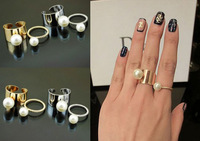 2014 Newest Women Fashion Ring Lot Gold/Silver Opening Cuff Pearl Ring Mix Petty Twisty Pearl Ring No Min Order 4pcs/lot