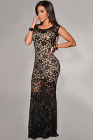 Brand New Women Two-toned Sexy Lined Long Lace Evening Dress 6350  do dropship