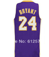 Free Shipping 24 Bryant Purple color men Sleeveless  Basketball jerseys made of Lycra and Spandex Basketball jersey