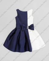Retail - Summer 2014 baby clothing royal blue / teal + white splice diamond bow sleeveless lantern kids party dress lxm 003 C-4