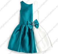 Retail - 2014  royal blue / teal + white splice diamond bow sleeveless lantern kids party girls dress lxm 003  L - 1