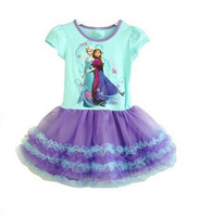 in stock , Baby girls dress kids children short sleeve FROZEN Anna Elsa ice girl dresses 0318 sylvia