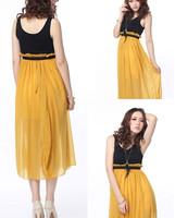 DR1760 Womens Summer Dress Beach Chiffon Sundress Candy Color One-Piece Slit Maxi Dress