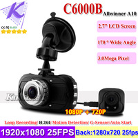 "Car Rear View Camera Dashboard DVR Dual Lens 2.7"" LCD 1080P+720P HD H.264 Video Codec + 170 Degree Wide Angle IR Light C6000B"