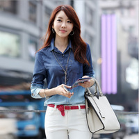 Spring fashion jeans shirt woman clothing stylish shirts long sleeve blouse women Karoean style casual tops for women plus size