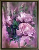 Free Shipping!!Full Drill diy Diamond Rhinestone Paintings Flowers Embroidered Diamond Mosaic Cross Stitch Kit Purple Rose 40*50