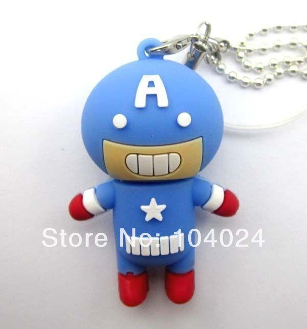 Free Ship Wholesale 10pcs lot round head Captain America hero USB Flash drive 2.0 U disk pen stick memory(China (Mainland))