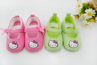 free shipping 6 pairs/lot cute KT baby first walkers,infant shoes,anti-slip baby shoes, 2 colors 3sizes