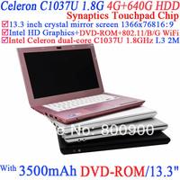 13.3 inch Ultrabook Notebook Laptopwith 1366x768 16:9 enjoyment with Intel Dual Core Celeron C1037U 1.8Ghz 4G RAM 640G HDD
