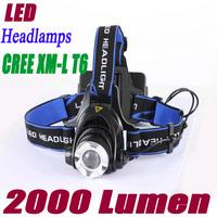 Bicycle Headlamp 2000 lumens CREE XM-L T6 LED Headlamp Headlight Flashlight Head Lamp Light . Free shipping
