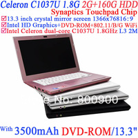 13.3 inch glossy screen Laptop Computer with 1366x768 16:9 enjoyment with Intel Dual Core Celeron C1037U 1.8Ghz 2G RAM 160G HDD