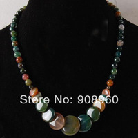 """design Christmas 6-20mm Natural colorful India Agate Onyx Coins Pendant Necklace 17.5"""" 2pc/lot fashion jewelry"""
