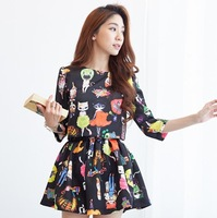 9162 # 2014 summer new Korean fashion cat print two-piece skirt Sleeve