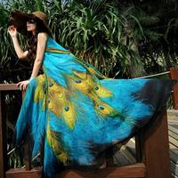 2014 bohemia beach dresses women print chiffon maxi dresses holidaying female summer expansion bottom long one-piece dress