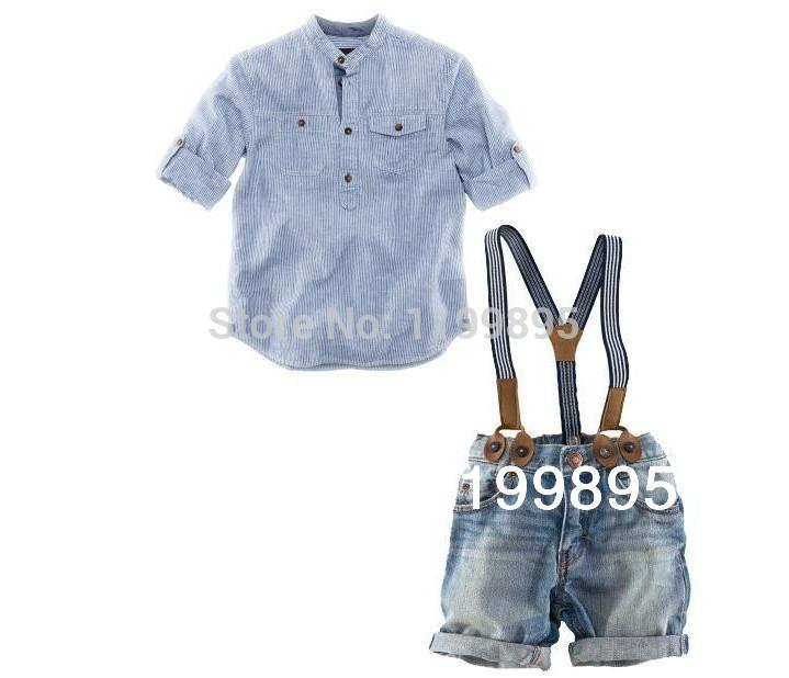 Camicia a righe collo, cinghia pantaloni denim tuta per il tempo libero, jeans, abbigliamento set, abito estivo, nuovo 2014, spedizione gratuita