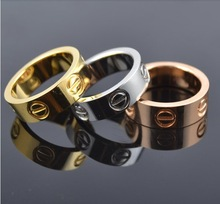 Famous brand 6mm screw lovers gold rings men women 24K Gold filled 316L Titanium Steel Yellow / white / rose gold color 6-13