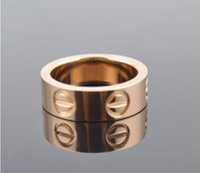 Famous brand 6mm screw lovers gold rings men women 24K Gold filled 316L Titanium Steel Yellow