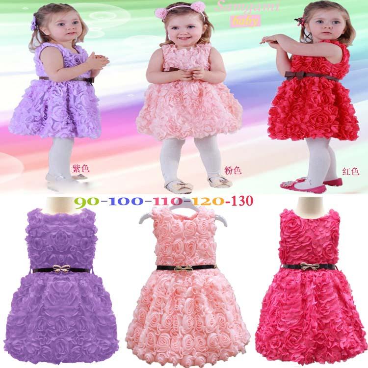 free shipping summer girl child belt rose  one-piece dress flower dress three colors size 90-130cm girl clothing dress+belt(China (Mainland))