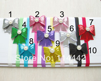 "Free Shipping 20pcs/lot mix 10 colour 3"" Embroideried sequin bows Headband Girls' hair accessories boutique bows DIY accessories"