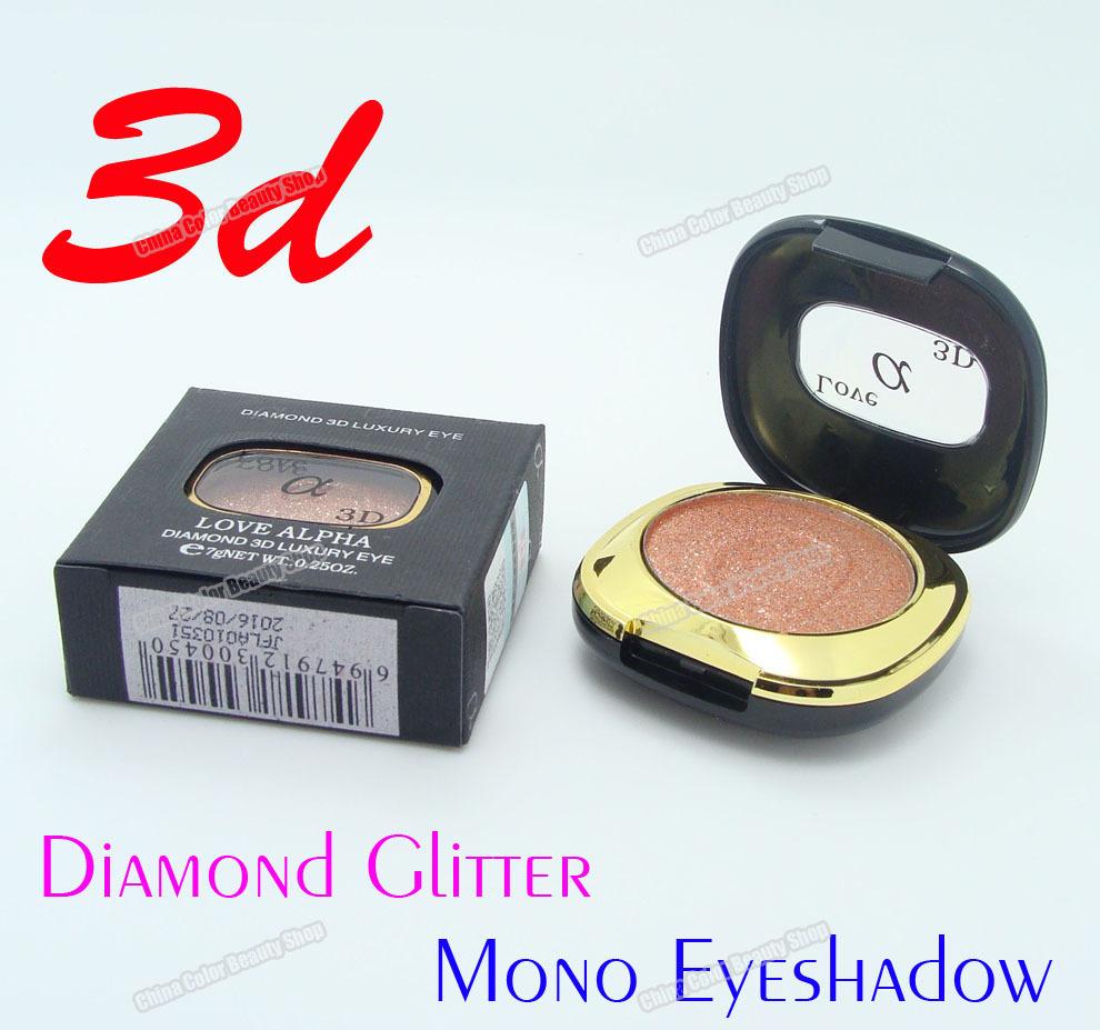 3pcs/lot Deluxe 3D Sparkly Diamond Glitter Single Colors Metallic Mono Eyeshadow Makeup(China (Mainland))