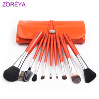 Free Shipping Zoreya 9 Pcs Professional Makeup Brush Set With Orange PU Leather Bag  Goat Hair Brushes Cosmetic Tools