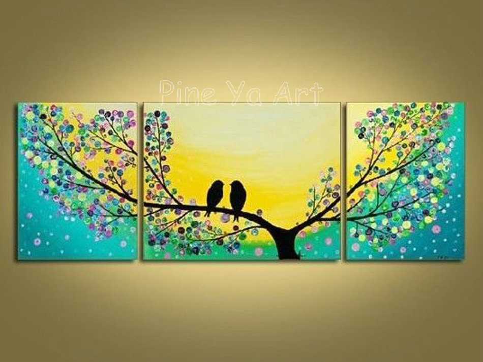 3 piece abstract modern canvas wall art decorative tree ...