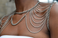 2014 free transportation of gold and silver double color beautiful body shoulder chain   jewelry