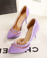 2014 Hot lady's Rivet asakuchi shoes Pointed Toe 9cm High Thin Heel Pumps shoes work shoes Wedding Shoes