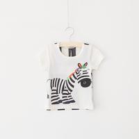 New Children Clothing Summer Cartoon Zebra Lovely T-shirt Back Eyelet Fabric Good Air Permeability T-shirt