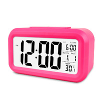 Large LCD Display Rosy Digital Snooze Light Automatic Backlight Alarm Clock Calendar Date Temperature
