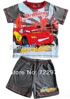 Retail 2014 boy Cars cartoon suit 2 pieces including short sleeve t-shirt+shorts per set sports suit