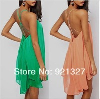 Spring 2014 New Summer women's dress Colorful Cross Stripes Chiffon Ladies Dress Sexy Backless Women Dresses Beach Dress