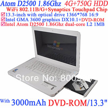 13.3 Inch Cheap Laptop Notebook PC with DVD-ROM classic model with Intel Atom Dual Core D2500 1.86G 802.11/B/G 4G RAM 750G HDD