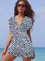 women Classic Swimsuit Cover-ups Tunic Sexy deep V-neck Beach Dress elastic ice silk material Bikini Leopard Stripe dress