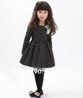 Free Shipping 2014 Spring new Girls dot bow dress new girl clothing dot dresses