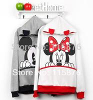 2014 Women Spring Autumn Sweatshirt Hoodies Coat Mickey Mouse Printing Cartoon Sweatshirt Pullovers Hoodies M-XL Free Shipping