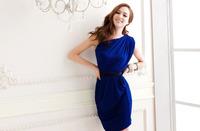 European and American fashion sexy goddess big star big yards oblique shoulder dress feminine dress Slim