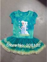 2014 Frozen Elsa Princess Kids Girls Dress Costume Suit for 3T-6T Child Summer Wear