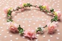10x Hotsale wedding girl flower crown Hawaii silk flower headpiece  DIY head wreath NW025 in free shipping