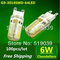Wholesale 100pcs G9 3014SMD 64LEDs Crystal Chandelier LED Corn Silica Gel Lamp 6W White/Warm White AC 220V DHL Free Shipping
