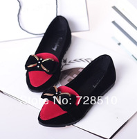 2014 Spring New Korean Bow Flat Shoes With A Single Shallow Mouth Comfortable Flat Shoes Women Casual Shoes Free Shipping Tip